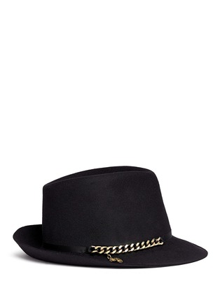 Figure View - Click To Enlarge - Stella McCartney - Curb chain wool felt panama hat