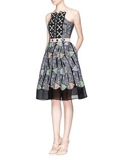 PETER PILOTTO'Atom' lace panel jacquard flare dress