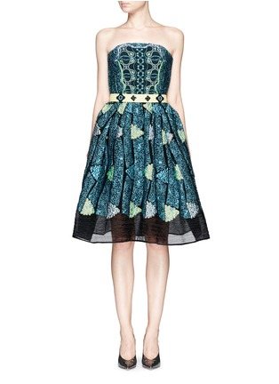 Main View - Click To Enlarge - Peter Pilotto - 'Kinetic' atom jacquard strapless flare dress