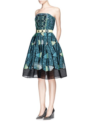 Figure View - Click To Enlarge - Peter Pilotto - 'Kinetic' atom jacquard strapless flare dress