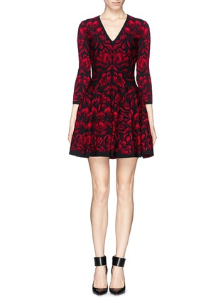 Main View - Click To Enlarge - Alexander McQueen - Mosaic tulip jacquard knit dress