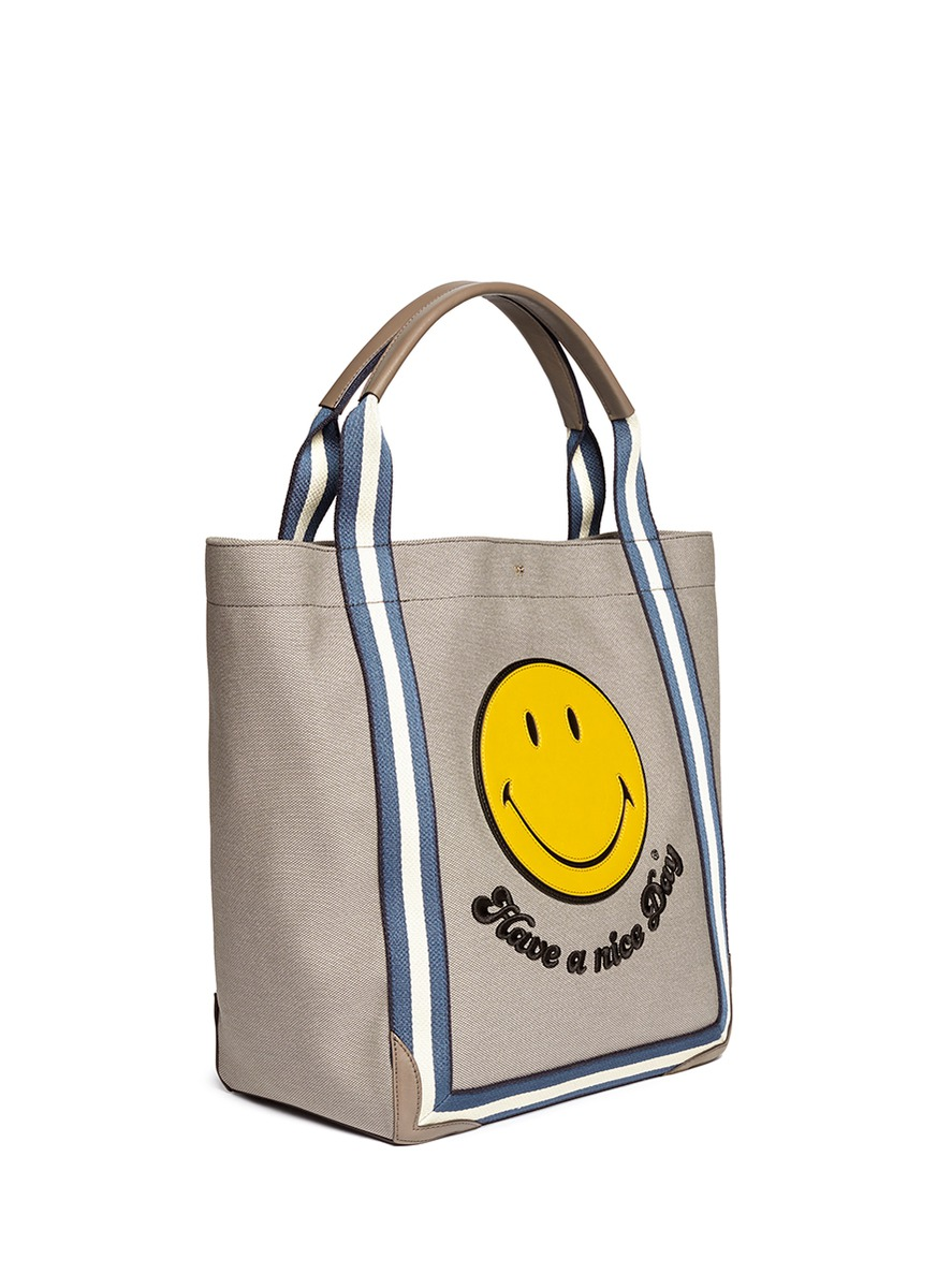 anya hindmarch pont smiley tote grey oversized totes