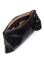 'Georgiana' tassel leather zip clutch