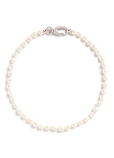 CZ by Kenneth Jay Lane Cubic zirconia pavé faux pearl necklace