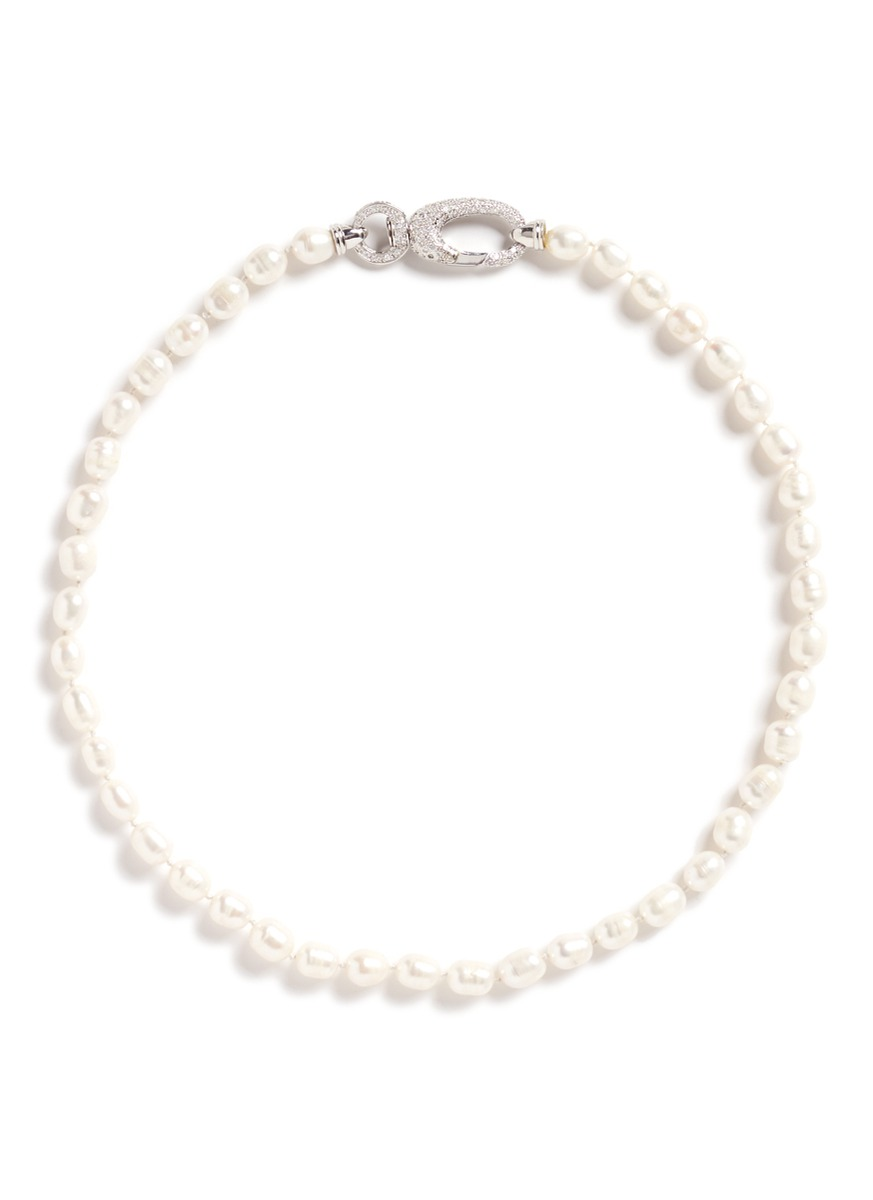 cz by kenneth jay lane female cubic zirconia pave faux pearl necklace