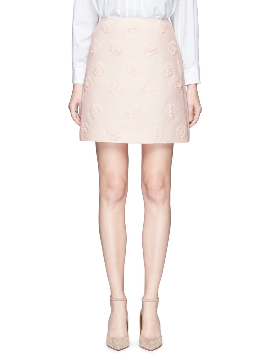 Daisy appliqué Crepe Couture skirt by Valentino