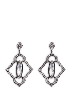 CZ by Kenneth Jay Lane Cubic zirconia centre stone pavé frame drop earrings