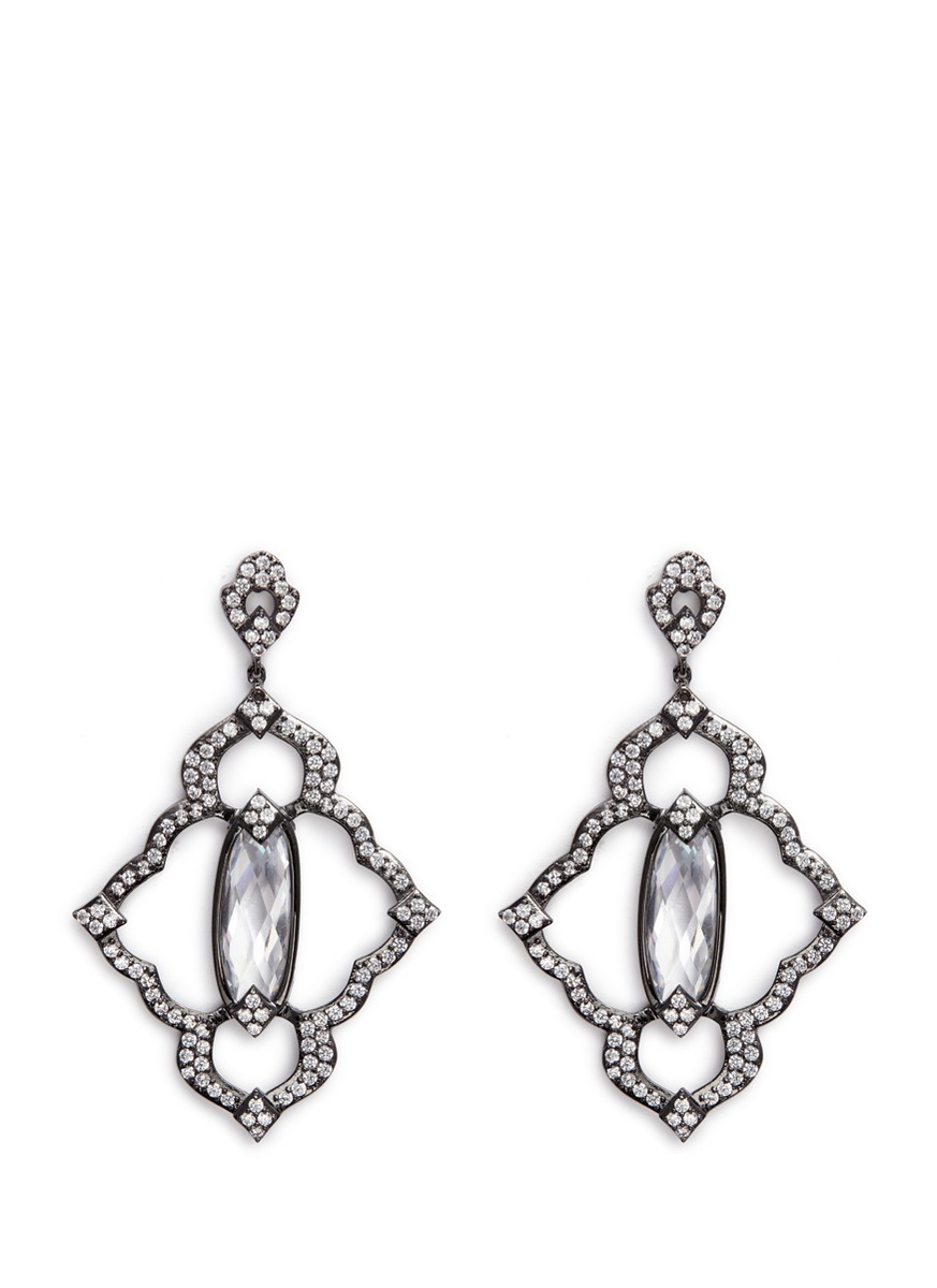 cz by kenneth jay lane female cubic zirconia centre stone pave frame drop earrings