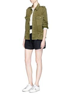 James PerseDrawstring garment dyed linen shorts