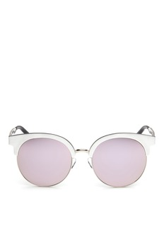 Matthew Williamson Wire rim oversized aluminium mirror sunglasses