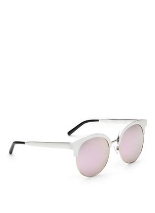 Figure View - Click To Enlarge - Matthew Williamson - Wire rim oversized aluminium mirror sunglasses