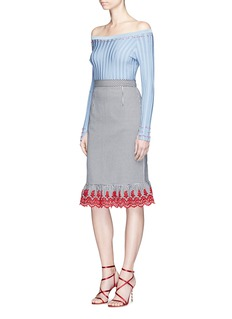 ALTUZARRABenson刺绣荷叶边格纹铅笔裙
