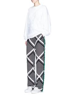 MSGMCrisscross print embellished silk wide leg pants
