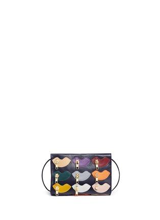 Detail View - Click To Enlarge - A-Esque - 'Zip de Lip' appliqué leather crossbody box clutch
