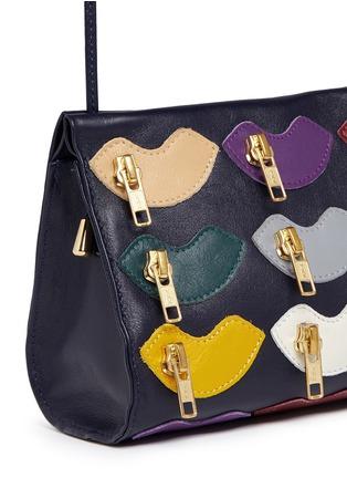 - A-Esque - 'Zip de Lip' appliqué leather crossbody box clutch