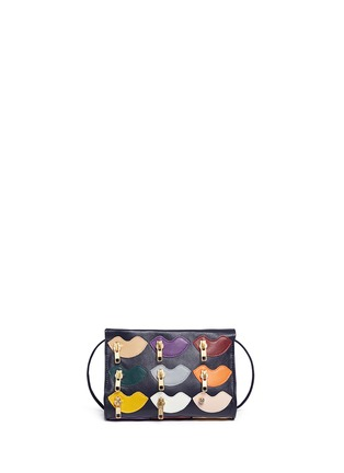 Main View - Click To Enlarge - A-Esque - 'Zip de Lip' appliqué leather crossbody box clutch