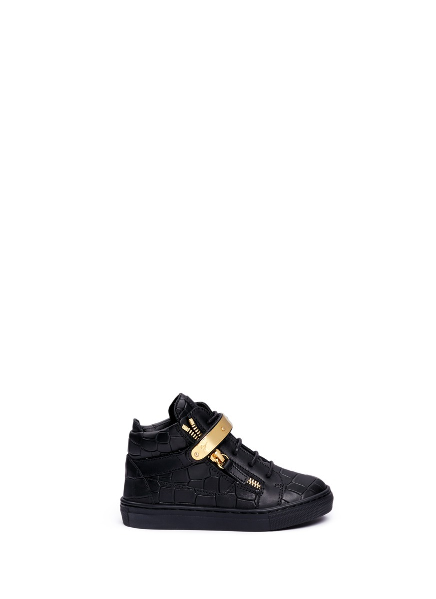 Nicki Junior croc embossed leather toddler sneakers by Giuseppe Zanotti Design