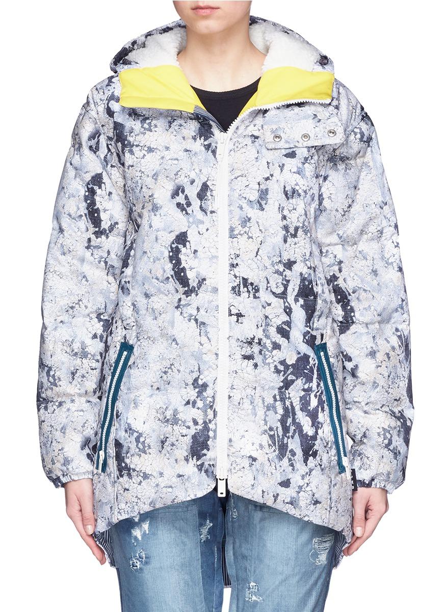 x L.A.M.B. Bolan Paint Crackle print down snowboard jacket by Burton