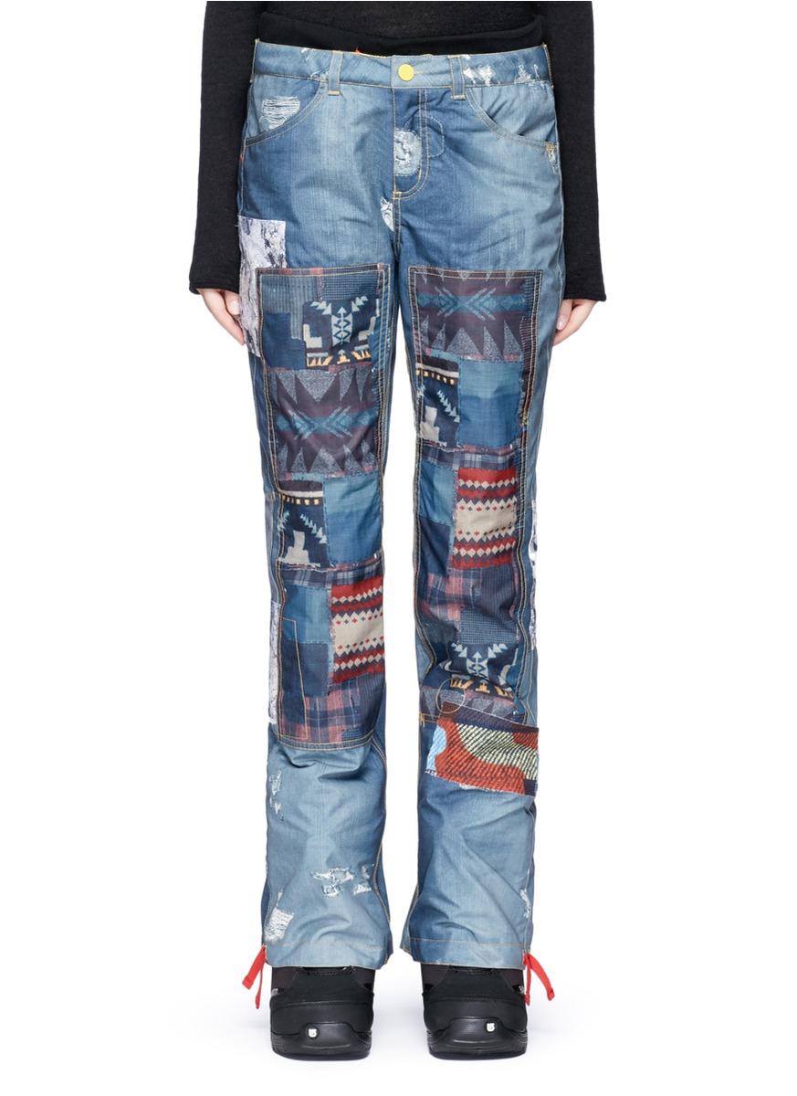 x L.A.M.B. Buju patchwork denim print cargo snowboard pants by Burton