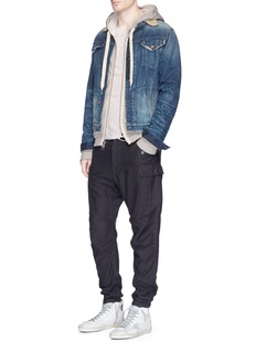 NSF 'Adams' faux shearling collar denim jacket