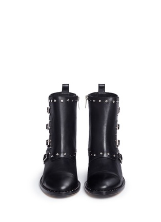 Front View - Click To Enlarge - Jimmy Choo - 'Baxter 35' stud trim buckle flap leather boots