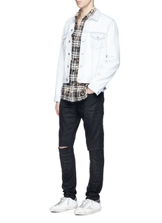 Saint LaurentDistressed coated skinny jeans