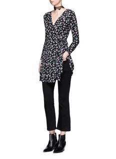Topshop'Ditsy' floral print plissé pleat wrap dress