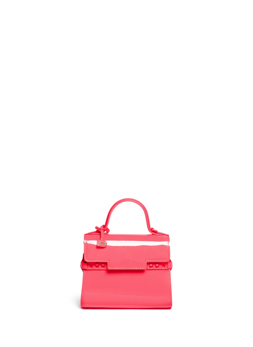 Tempête Micro patent leather crossbody bag by Delvaux