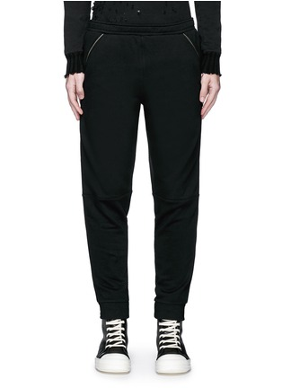 Main View - Click To Enlarge - Hood By Air - Logo zip side cotton fleece sweatpants