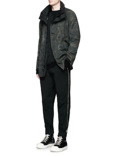 Hood By Air Logo zip side cotton fleece sweatpants