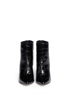 PEDDER REDCroc embossed leather suede boots