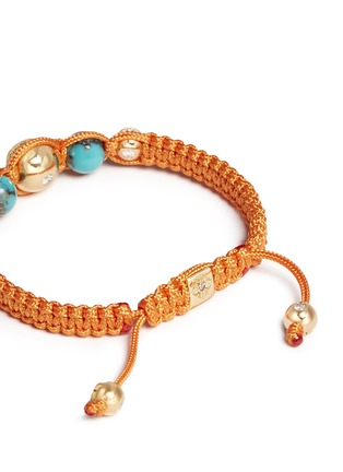 Detail View - Click To Enlarge - Shamballa Jewels - 'Shamballa' diamond 18k gold turquoise bracelet