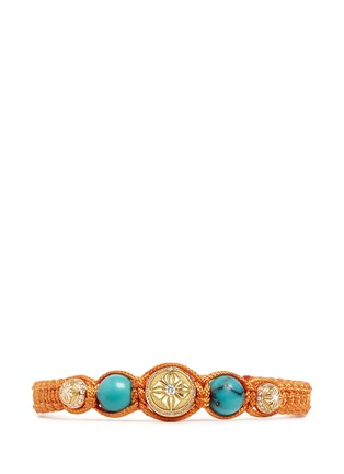 Main View - Click To Enlarge - Shamballa Jewels - 'Shamballa' diamond 18k gold turquoise bracelet