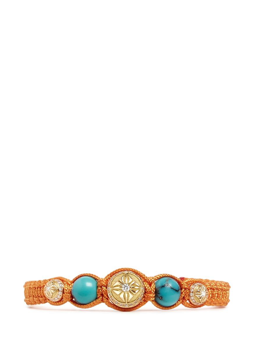 Shamballa diamond 18k gold turquoise bracelet by Shamballa Jewels