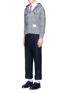 Thom Browne Bouclé accent wool blend pants