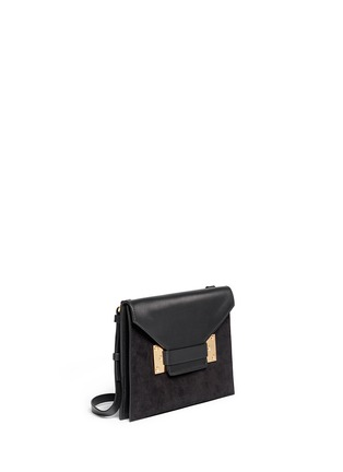 Front View - Click To Enlarge - Sophie Hulme - 'Milner Double' leather suede combo shoulder bag