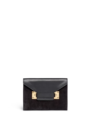 Main View - Click To Enlarge - Sophie Hulme - 'Milner Double' leather suede combo shoulder bag