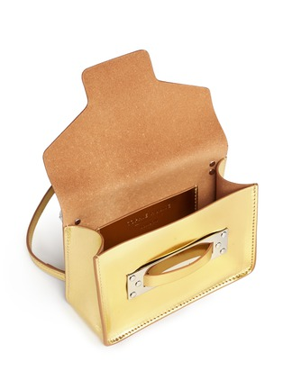 Detail View - Click To Enlarge - Sophie Hulme - 'Milner Nano' metallic leather crossbody bag