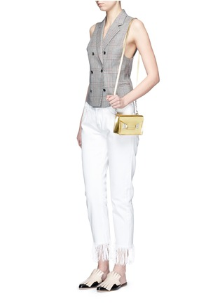 Figure View - Click To Enlarge - Sophie Hulme - 'Milner Nano' metallic leather crossbody bag