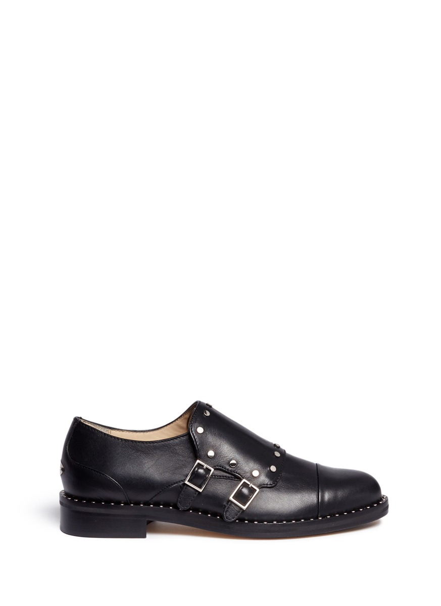 Berry 30 stud trim monk strap shoes by Jimmy Choo