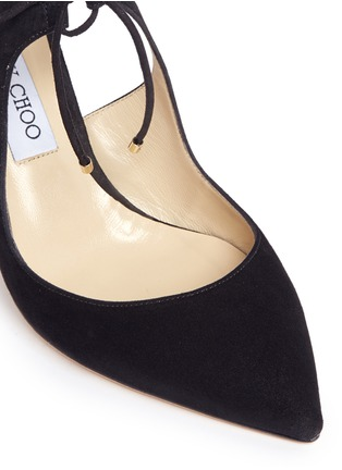 Detail View - Click To Enlarge - Jimmy Choo - 'Vanessa 85' cutout suede and leather pumps