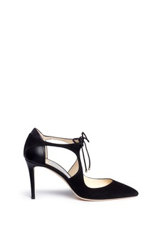 Jimmy Choo 'Vanessa 85' cutout suede and leather pumps