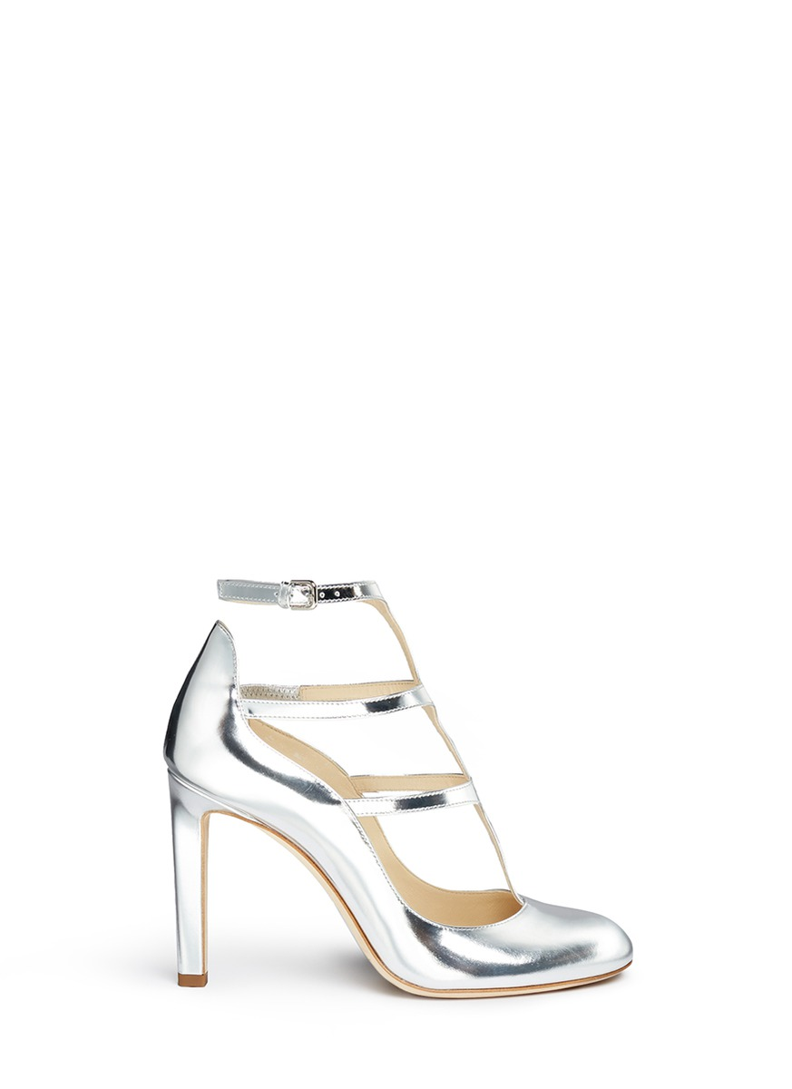 Doll 100 caged mirror leather pumps by Jimmy Choo