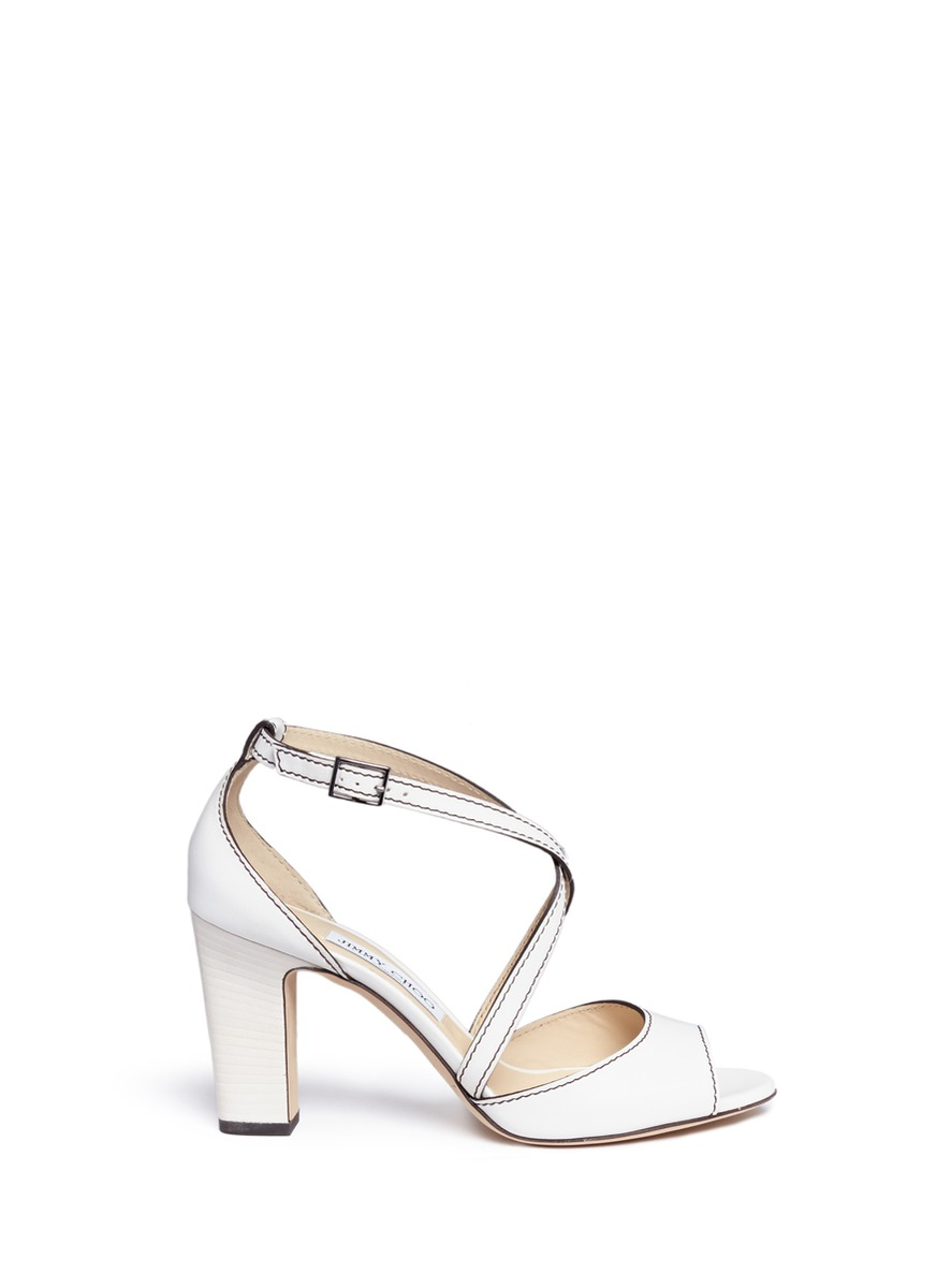 Carrie 85 cross strap leather sandals by Jimmy Choo