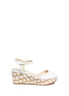Jimmy Choo'Perla 70' floral raffia wedge sandals