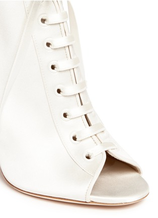 Detail View - Click To Enlarge - Jimmy Choo - 'Freya 100' satin lace-up booties