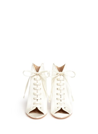 Front View - Click To Enlarge - Jimmy Choo - 'Freya 100' satin lace-up booties