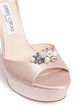 Detail View - Click To Enlarge - Jimmy Choo - 'Fantasy 120' detachable embellished clip satin sandals