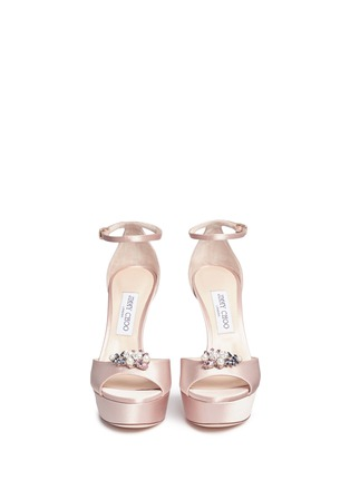 Front View - Click To Enlarge - Jimmy Choo - 'Fantasy 120' detachable embellished clip satin sandals