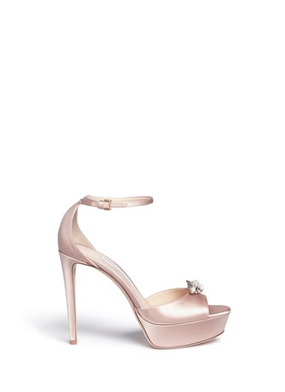 Main View - Click To Enlarge - Jimmy Choo - 'Fantasy 120' detachable embellished clip satin sandals